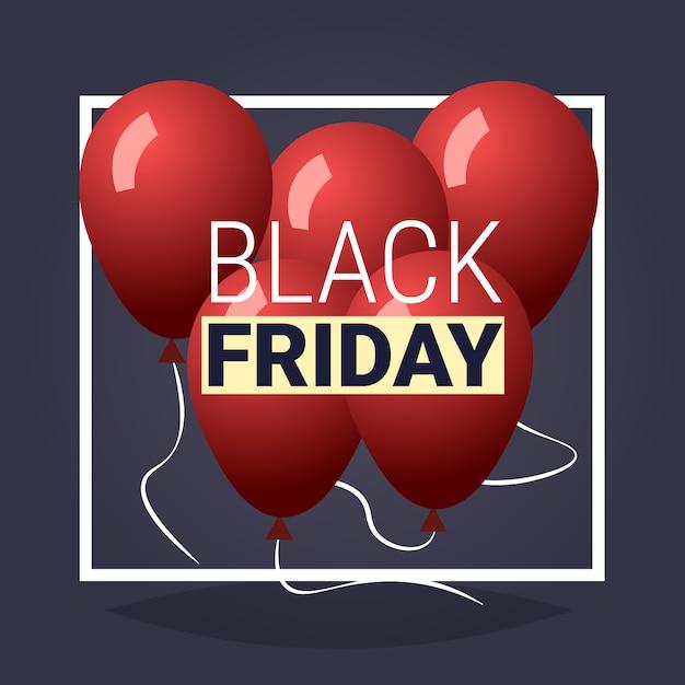 黒い金曜日特別オファービッグセールポスター灰色の休日割引以上の赤い気球 Premiumベクター