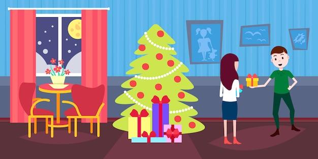 ギフトボックスプレゼントを保持している女性新年あけましておめでとうございます Premiumベクター