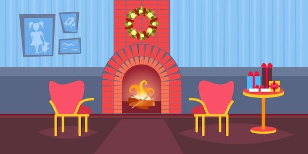 リビングルームメリークリスマス新年あけましておめでとうございます暖炉ホームインテリアデコレーション冬休日フラット Premiumベクター