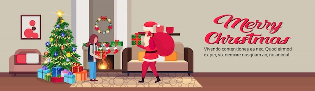 Санта-клаус в гостиной в рождество баннер Premium векторы