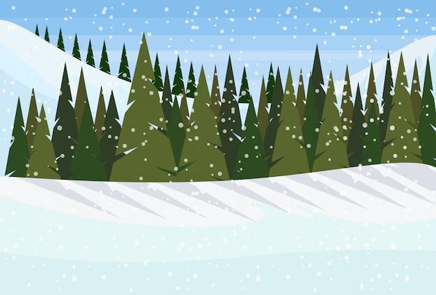 木と冬の背景 Premiumベクター