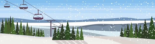 ケーブルカーのバナーと冬の風景 Premiumベクター