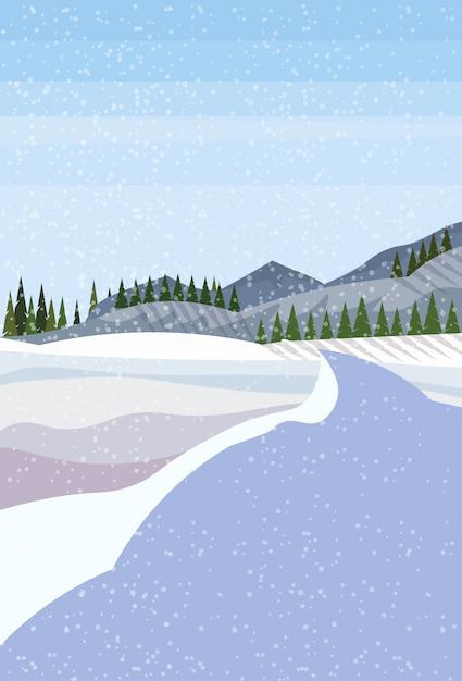 冬の風景の背景 Premiumベクター