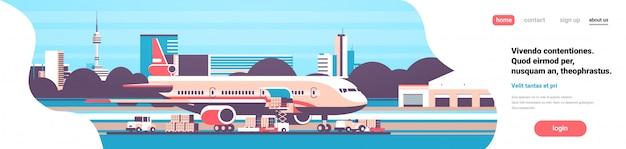 Целевая страница грузового транспорта с самолетом Premium векторы