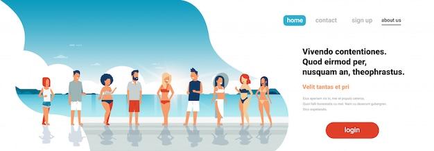 ビーチのランディングページでの夏休み Premiumベクター