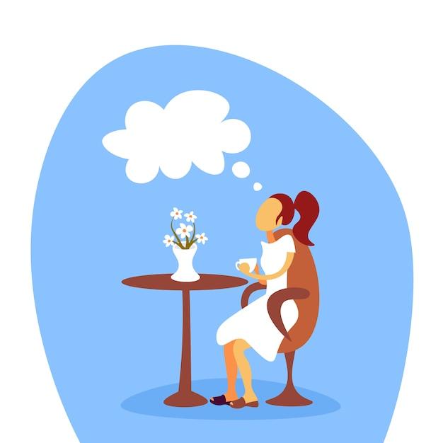 コーヒーを飲みながら夢を見る女性 Premiumベクター