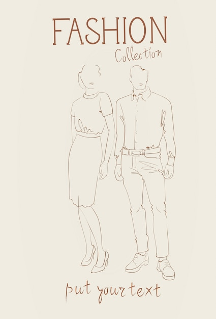 トレンディな服のスケッチを着てモデルの服セットのファッションコレクション Premiumベクター