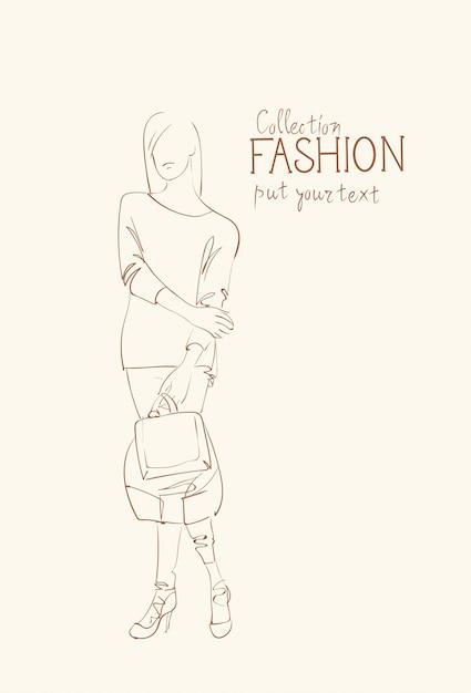 Модная коллекция одежды женская модель в модном эскизе одежды Premium векторы