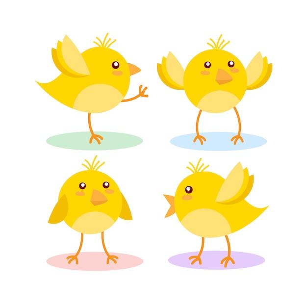 Милый желтый цыпленок на белом Premium векторы