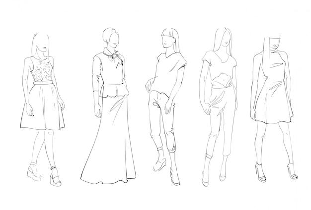 トレンディな服のスケッチを着ている男性と女性のモデルの服セットのファッションコレクション Premiumベクター