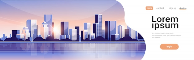 Большой современный город здание небоскреб панорамный вид закат Premium векторы