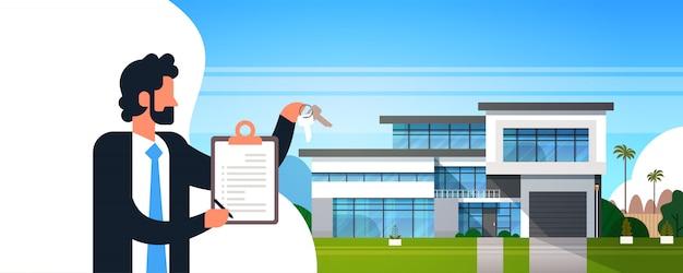 Деловой человек держит контракт с буфером обмена Premium векторы