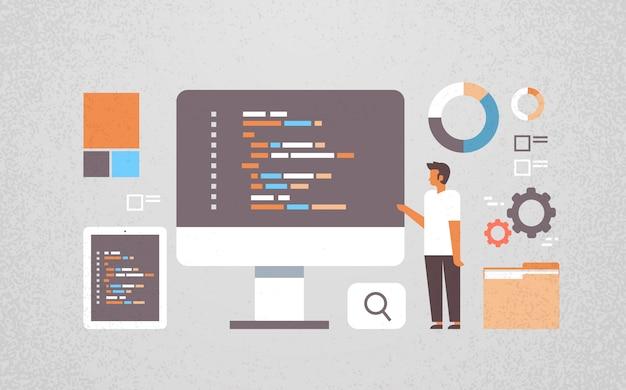 ソフトウェア開発で働くフリーランサープログラマー Premiumベクター