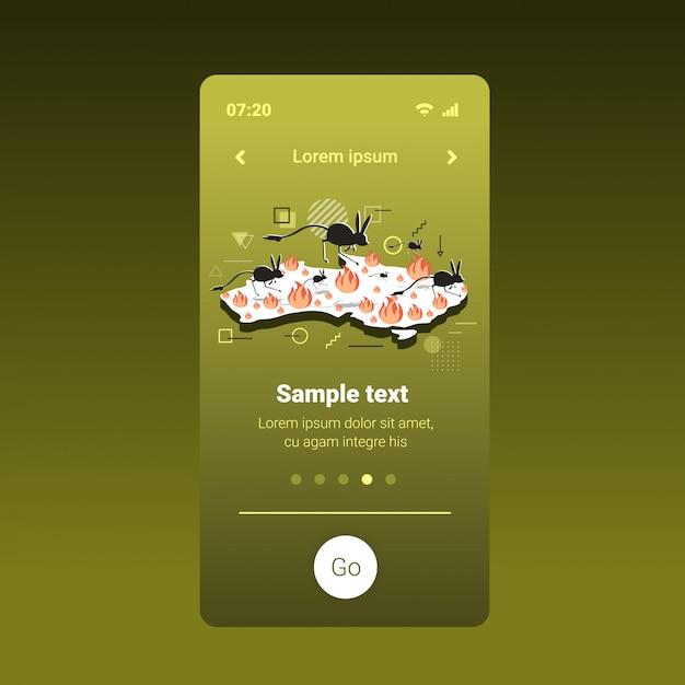 Карта австралии с силуэтами тушканчика, бегущими от исчезающих под угрозой лесного пожара животных, умирающих при пожаре концепция стихийного бедствия интенсивное оранжевое пламя экран смартфона мобильное приложение Premium векторы