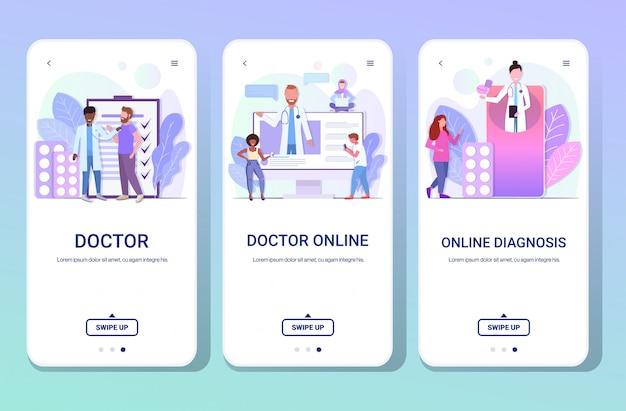 医師がコンサルティングをチェックし、薬の錠剤を与えて、レース患者の医療医学の概念の水平方向の完全な長さの電話スクリーンコレクションコピースペースを混合するように設定します。 Premiumベクター