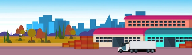 倉庫貨物半トラック物流ローディング配信輸送コンセプト国際配送 Premiumベクター