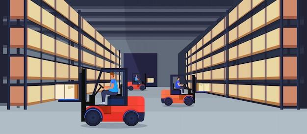 フォークリフトローダー作業倉庫インテリア宅配ボックスラックロジスティック配達貨物サービスコンセプト Premiumベクター