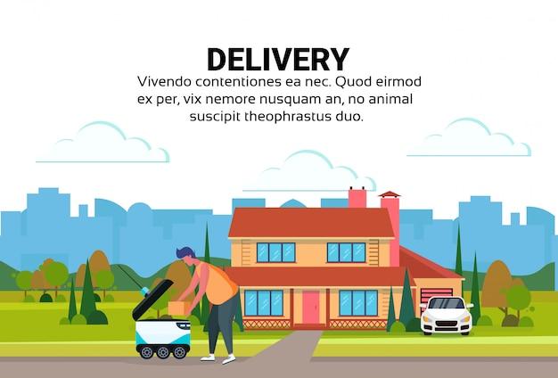 Человек погрузка коробка робот самостоятельная поездка быстрая доставка товаров дом двор экстерьер фон город машина Premium векторы