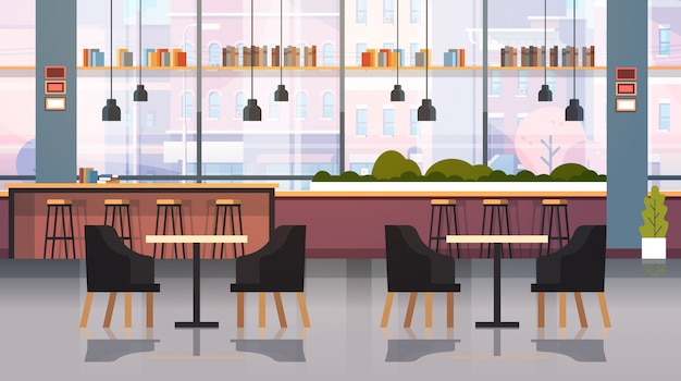Современное кафе интерьер пусто нет людей ресторан с мебелью кофе точка жир Premium векторы