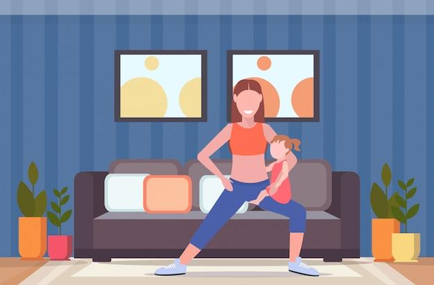 Мать с ребенком делает приседания физические упражнения дома спортсменка занимается фитнесом или йогой с дочерью здоровый образ жизни концепция современный спальня интерьер полная длина горизонтальный Premium векторы