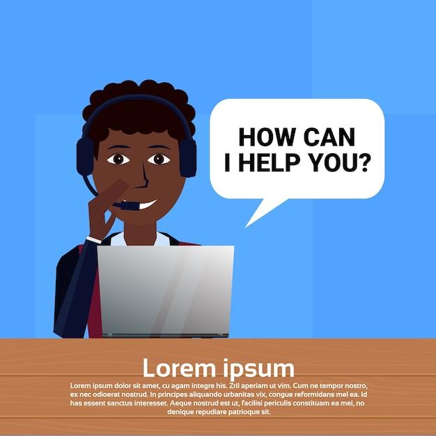 アフリカ系アメリカ人のコールセンターヘッドセットエージェント Premiumベクター