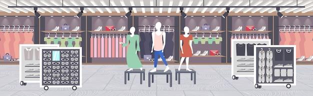 Большой модный магазин супермаркет женская одежда торговый центр современный бутик интерьер горизонтальный Premium векторы