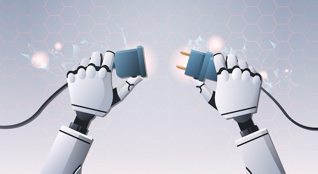プラグインソケットを挿入するロボットハンド Premiumベクター