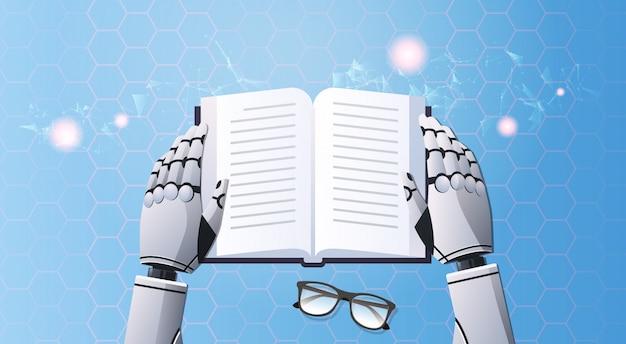 Робот руки держит книгу Premium векторы