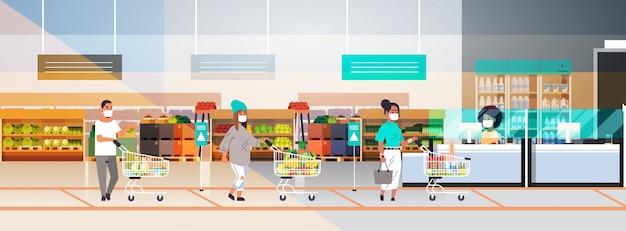 コロナウイルスのパンデミックを防ぐために食料品店から距離を置いている防護マスクの顧客 Premiumベクター