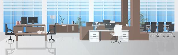 Пустой нет людей коворкинг центр с конференц-залом современные открытое пространство офис интерьер горизонтальный Premium векторы