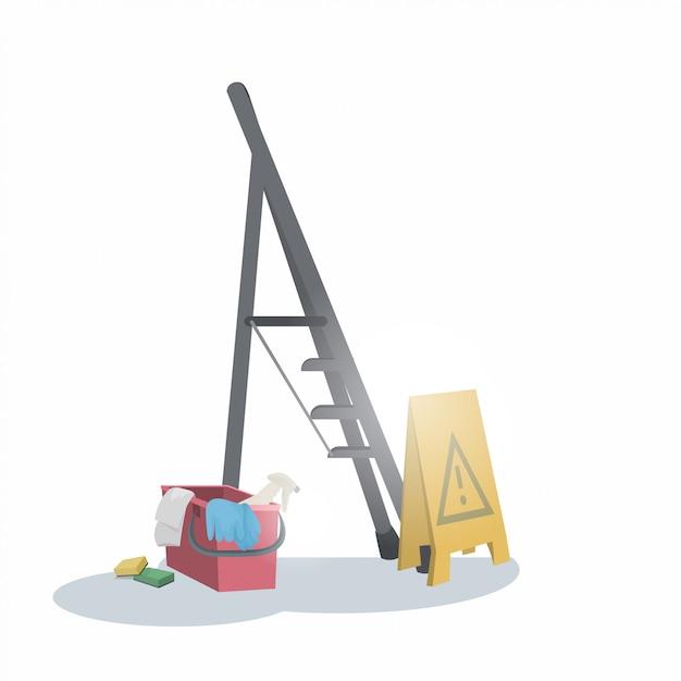 Концепция обслуживания уборки знака ведра лестницы и влажного пола Premium векторы