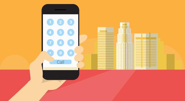 ハンドホールドセルスマートフォンアプリケーションオンラインディールコール番号バナーフラットベクトル図 Premiumベクター