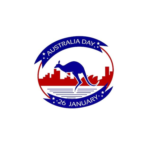 オーストラリアデーカンガルースタンプフラグナショナルホリデーフラット Premiumベクター