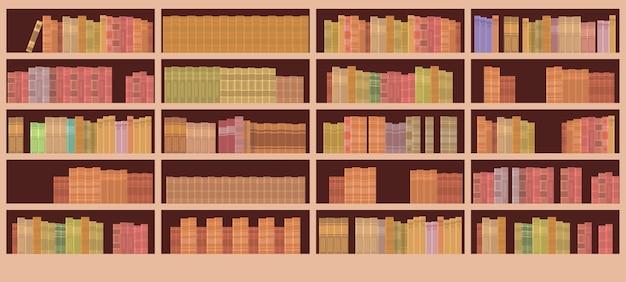 本棚図書館内装 Premiumベクター
