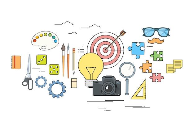 クリエイティブプロセスアイコンデザイナーワークツールカラーロゴ Premiumベクター