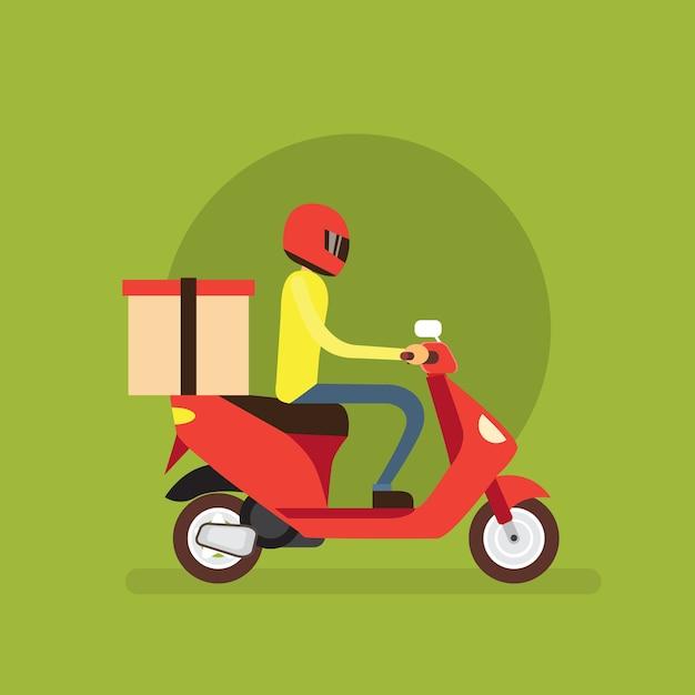 配達少年ライド電動スクーターオートバイ Premiumベクター