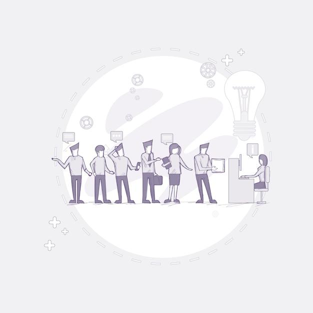 ビジネスパーソングループワーキングクリエイティブチーム Premiumベクター