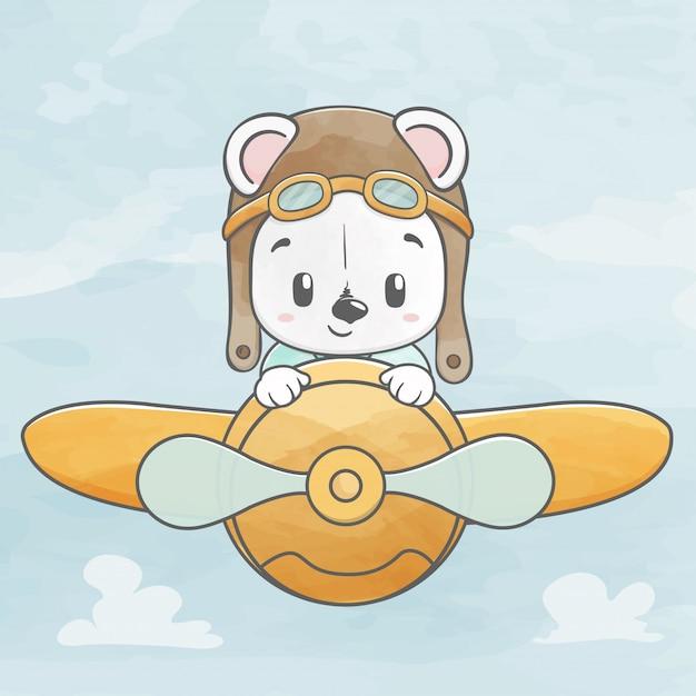 Милый ребенок медведь летать с плоской акварельной рисованной мультфильм Premium векторы