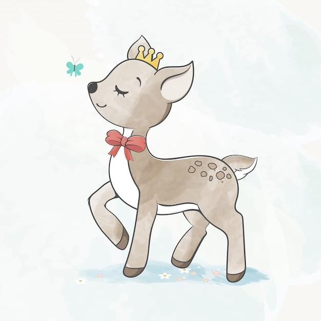 蝶水色漫画手描きのかわいい赤ちゃん鹿 Premiumベクター