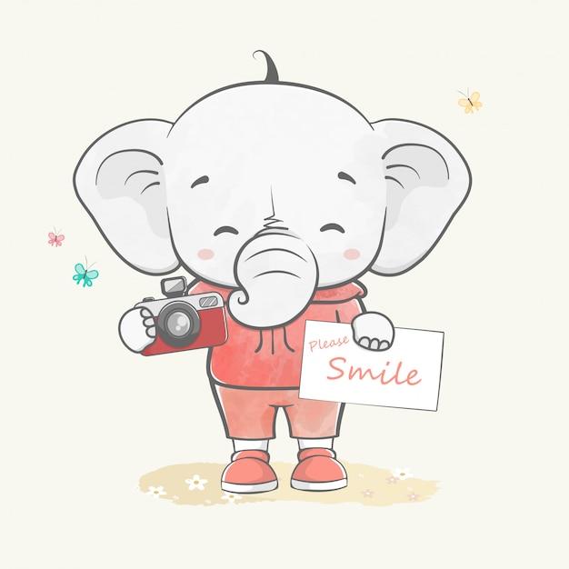 Милый слоненок как фотограф акварельный мультфильм рисованной Premium векторы
