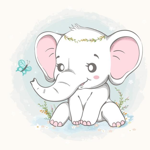 蝶の漫画の手描きのかわいい象の遊び Premiumベクター