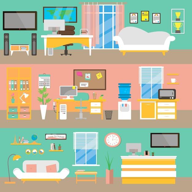 Офисный интерьер фон в квартире. Premium векторы