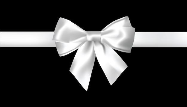 白い背景に現実的な白い弓。ベクトルイラスト。 Premiumベクター