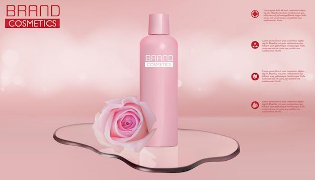 テキストテンプレートを使用したピンクの化粧品とローズ製品の広告 Premiumベクター