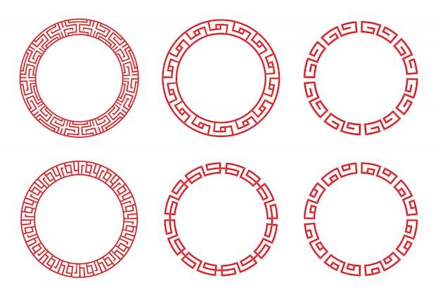 中国の赤い丸は、白い背景の上ベクトルデザインを設定します。 Premiumベクター