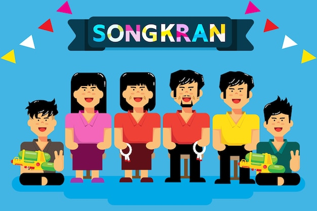 Сонгкран - тайский новый год Premium векторы