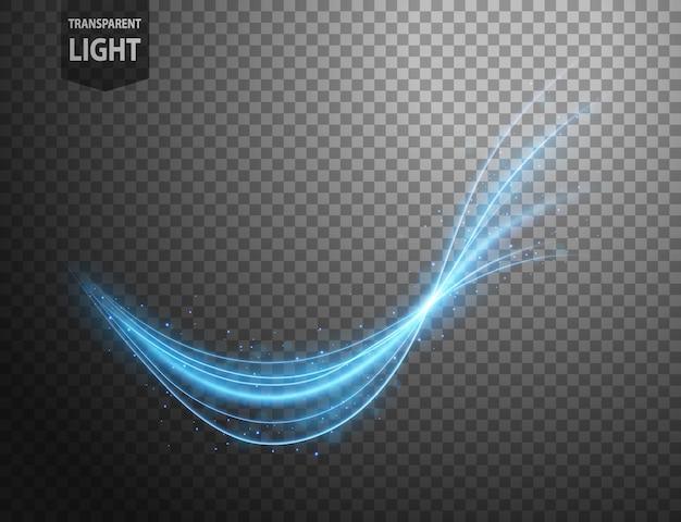 Абстрактная синяя волнистая линия света Premium векторы