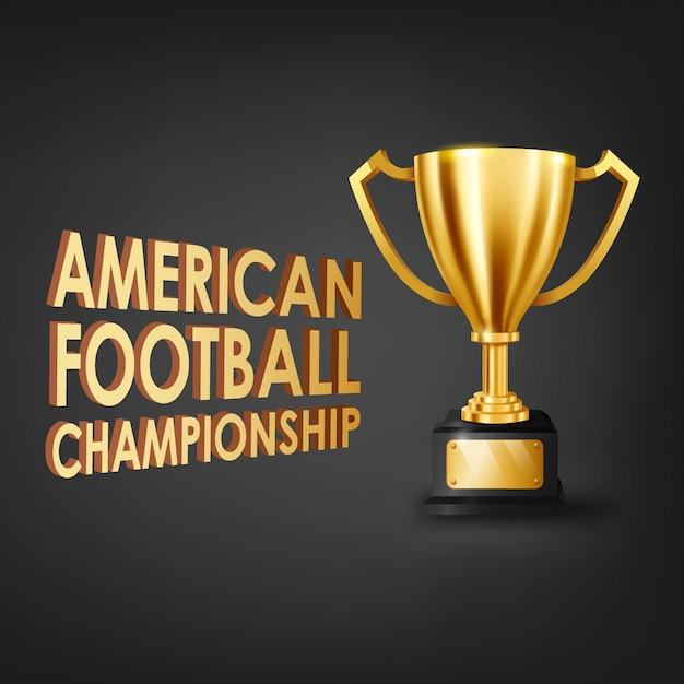 ゴールドトロフィーとアメリカンフットボール選手権 Premiumベクター