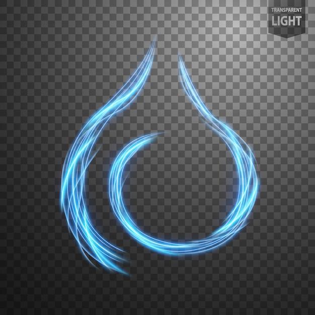 Абстрактная голубая линия огня Premium векторы