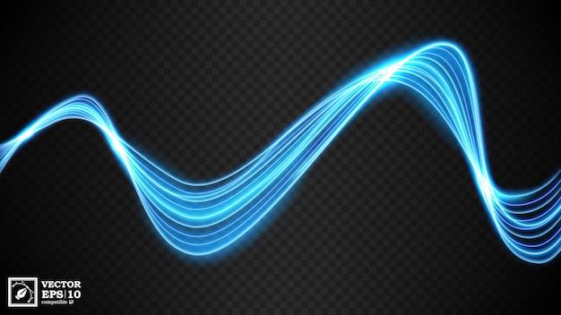 光の抽象的な青い波線 Premiumベクター